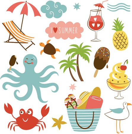 Summer images set Vector