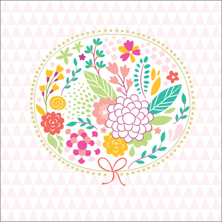 cute floral illustration,beauty greeting card Vector