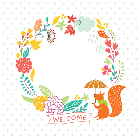 floral autumn frame, welcome lettering, vector illustration Vector
