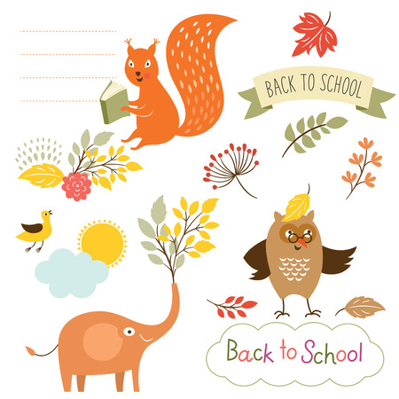 set of back to school elements, vector illustrations Vector