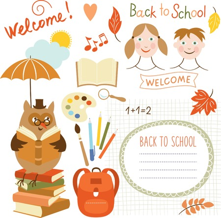 back round: set of back to school elements, vector illustrations