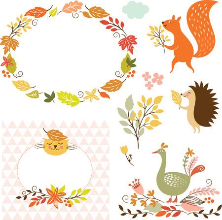 Conjunto de personajes de dibujos animados y elementos de otoño Foto de archivo - 30740329