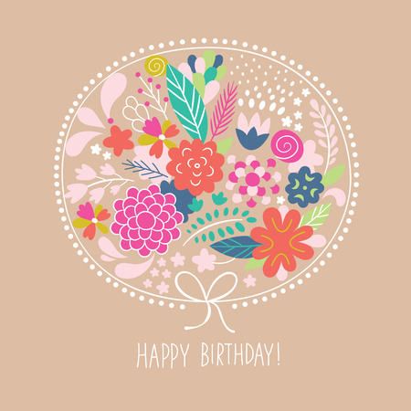 floral illustration, greeting card Banco de Imagens - 30740332