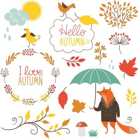 Autumn: conjunto de personajes de dibujos animados y elementos de otoño Vectores