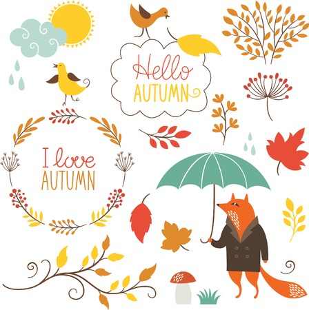 autumn leaves falling: set of cartoon characters and autumn elements
