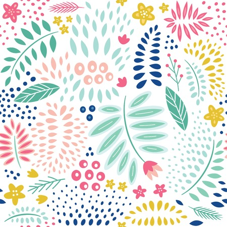 Abstract floral seamless pattern Çizim