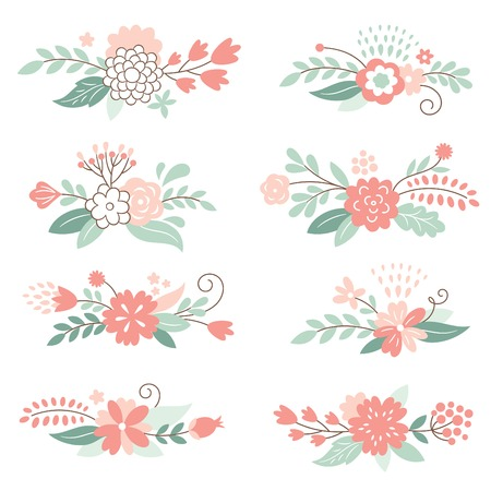 womanlike: set of floral vector elements