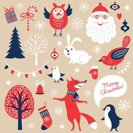 weihnachten vintage: Set Weihnachts grafische Elemente Illustration