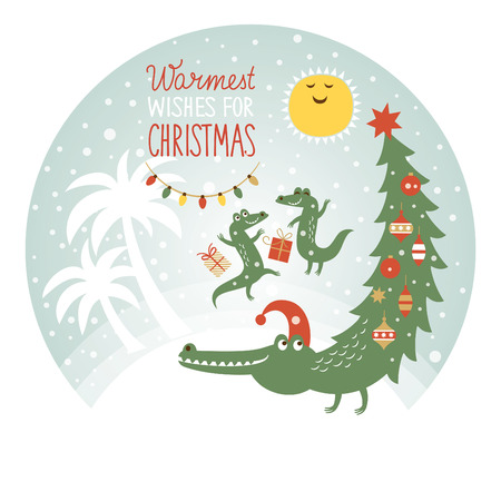 cute african crocodiles , greeting card Vector