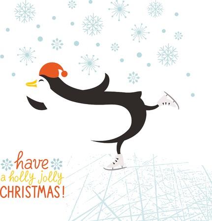penguin skate Vector
