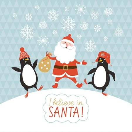 cute penguins and Santa Illustration