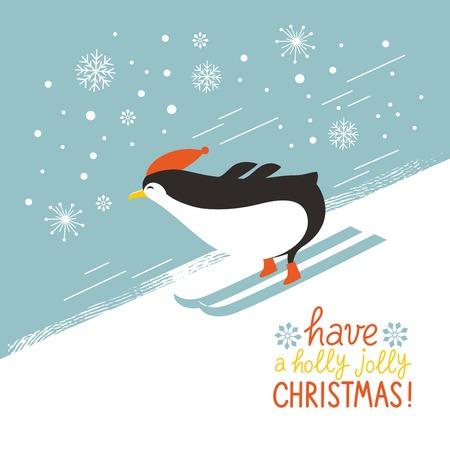 pinguïn skiën onderaan een berghelling