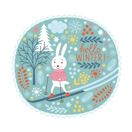 Christmas greeting card, rubbit skier Vector
