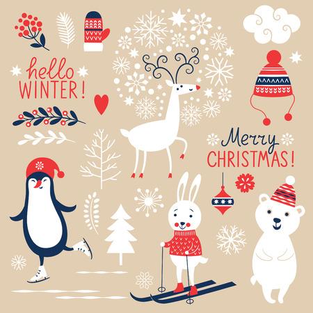 스키: 베이지 색 배경에 크리스마스 그래픽 요소의 집합