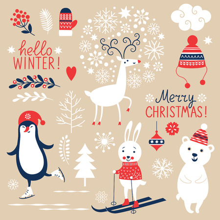 mitten: Set of Christmas graphic elements on beige background