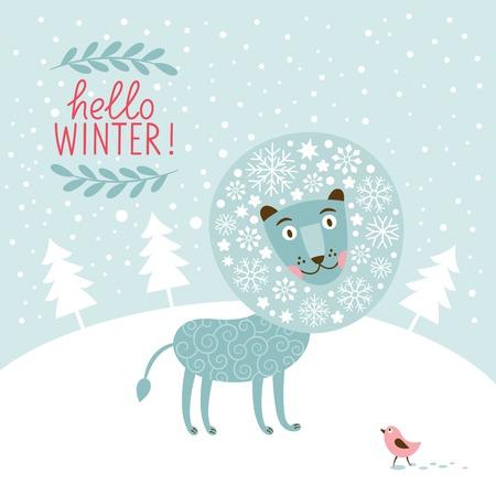 Christmas greeting card, snow fairy lion Vector