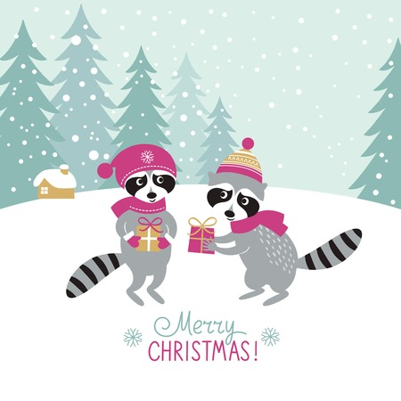 two cute raccoons with a gifts