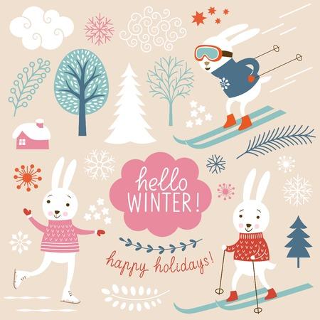 hadas caricatura: Conejos lindos y elementos grachic invierno Vectores