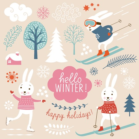 Cute rabbits and winter grachic elements Stock Illustratie