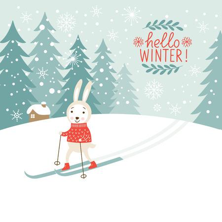 Los esquís de conejo Foto de archivo - 31967318