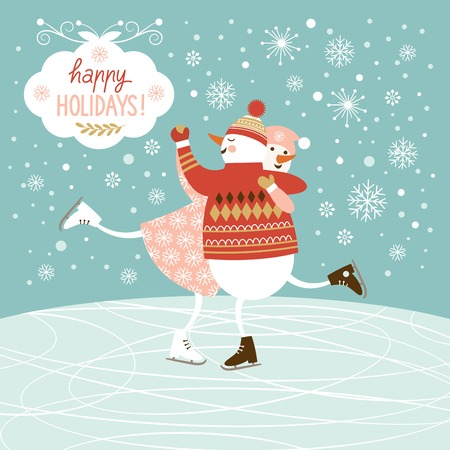 snowmen skate, Christmas background Vector