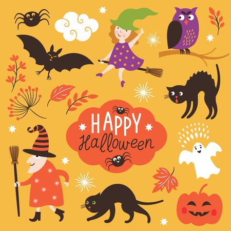 Set of cute Halloween elements Ilustracja