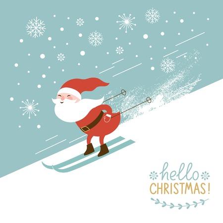 Santa skiing down a mountain slope