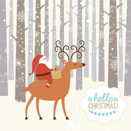 Santa goes on deer. The winter forest, Christmas background Illustration
