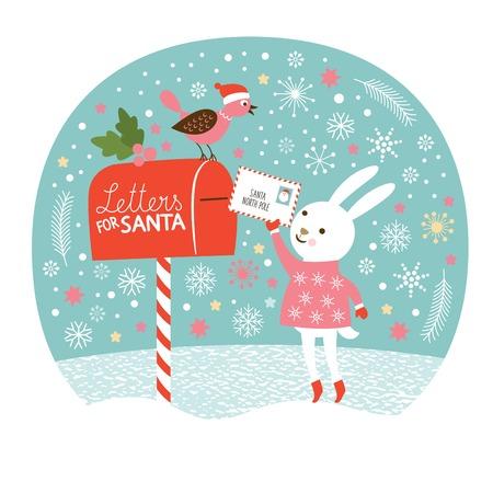 , 귀여운 토끼 산타의 편지를 보내는 산타 편지, 크리스마스 카드 스톡 콘텐츠 - 32341878