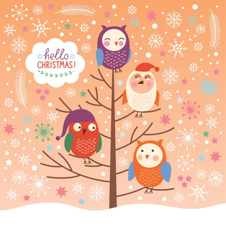 Cute owls on the tree, Christmas background, Merry Christmas greeting card Vector
