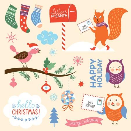 christmas owl: set of Christmas elements Illustration