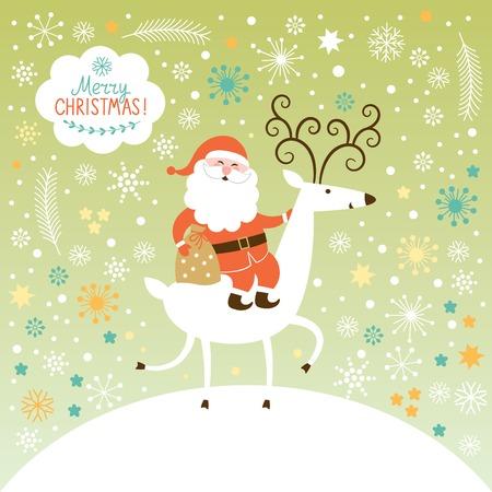 Père Noël va sur le cerf. La forêt d'hiver, fond de Noël Banque d'images - 32341882