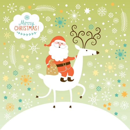 Santa goes on deer. The winter forest, Christmas background Vector