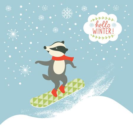 the badger is snowboarder Stock Illustratie