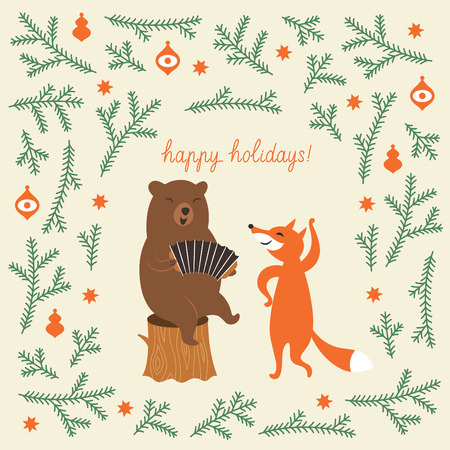 accordion: Greeting Christmas card, a bear and a cute fox