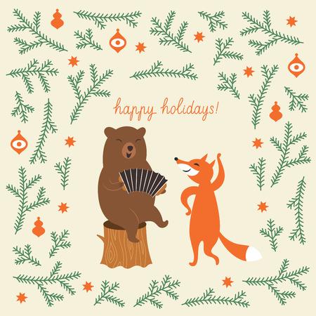 acorde�n: Tarjeta de felicitaci�n de Navidad, un oso y un zorro lindo