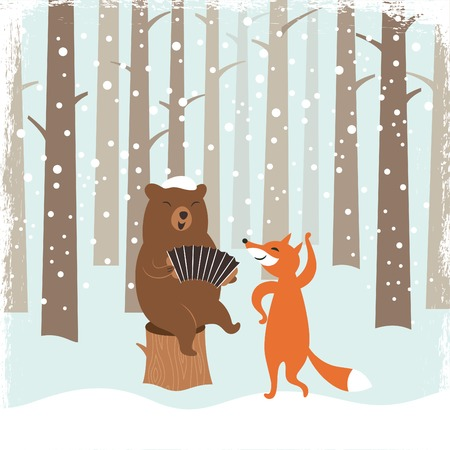 forests: Greeting Christmas card, a bear and a cute fox