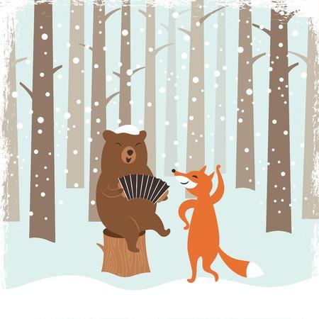Greeting Christmas card, a bear and a cute fox