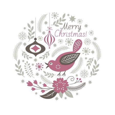 wreaths: Greeting Christmas card