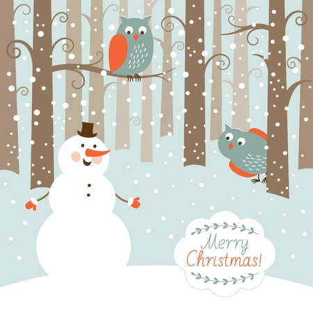 Greeting Christmas card, snowman in the forest