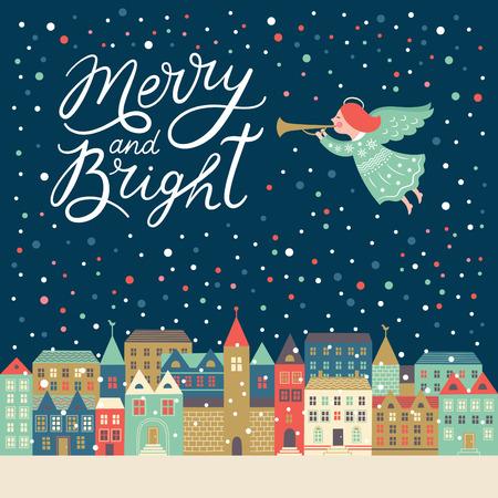 메리와 밝은 문자, 크리스마스 그림 일러스트