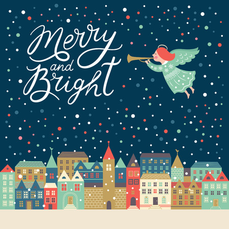 christmas angels: Merry and Bright lettering, Christmas illustration