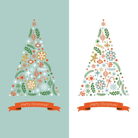 vertical banner: Christmas Tree Illustration