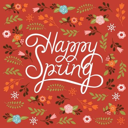 spring: Spring card - Lettering Happy Spring