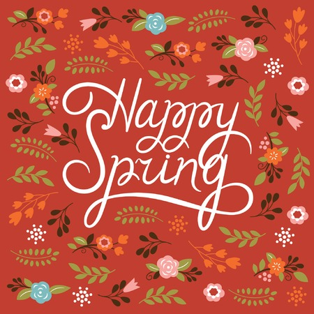 Spring card - Lettering Happy Spring