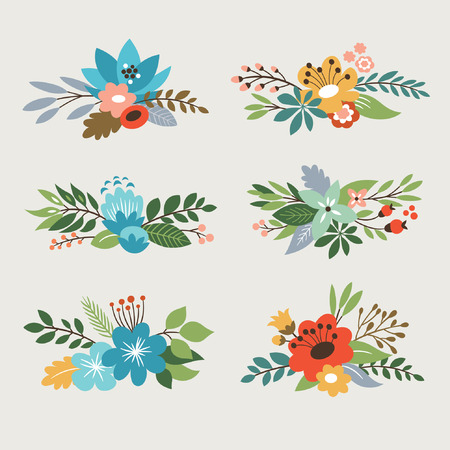 anniversary wreath: floral vector collection Illustration