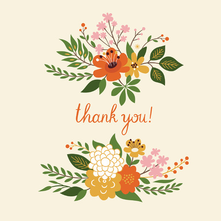 womanlike: floral decoration, thank you lettering Illustration