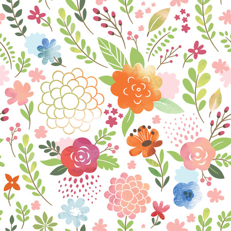 floral seamless pattern, watercolor flowers 일러스트