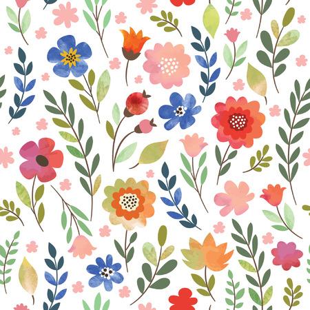 シームレスな花柄、水彩画の花