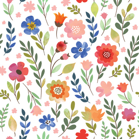 floral seamless pattern, watercolor flowers Vettoriali